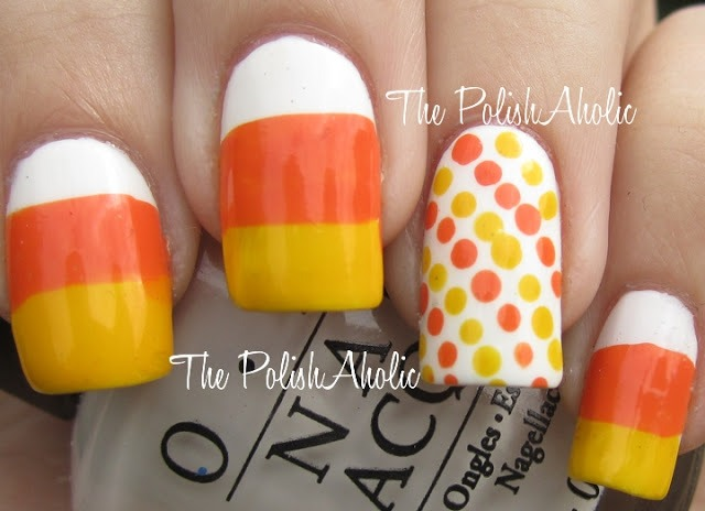 Candy Corn nail art for halloween