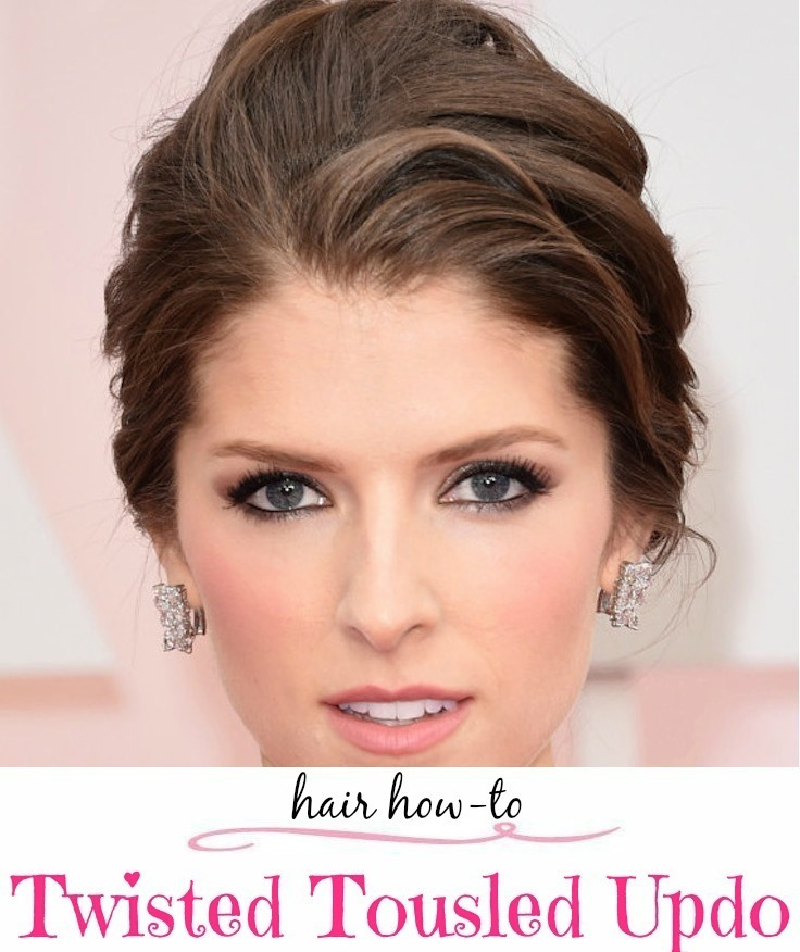 hair tutorial twisted tousled updo