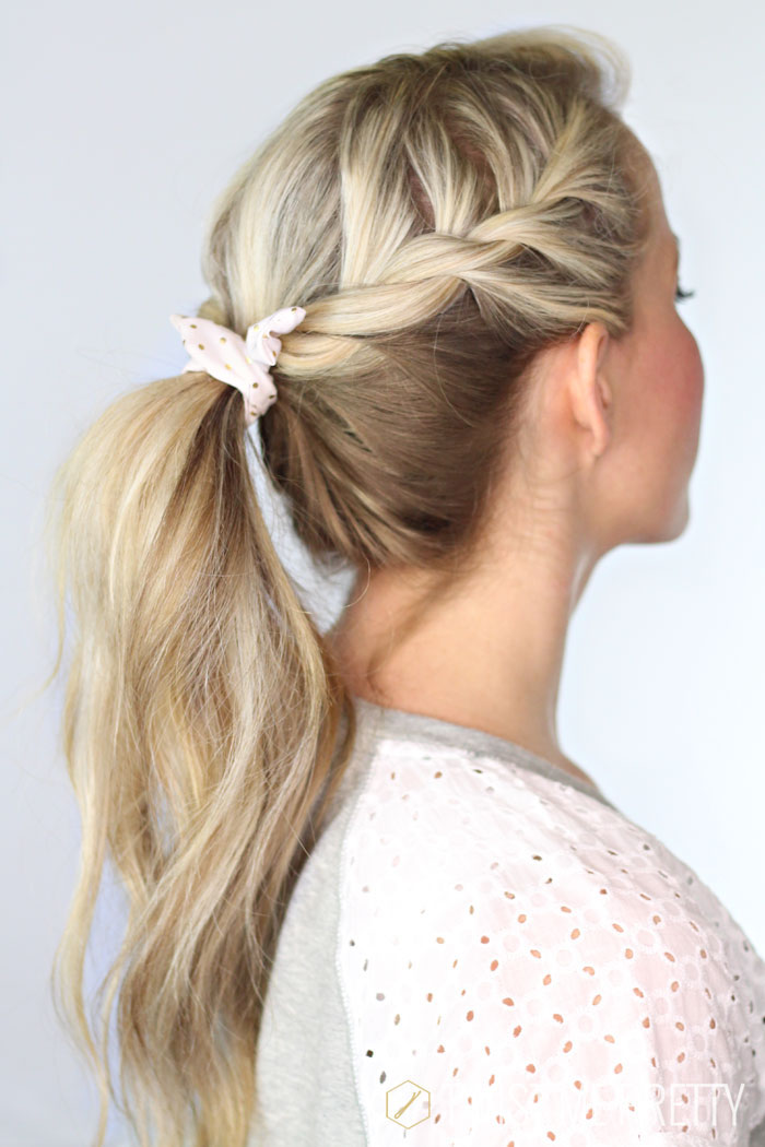 Easy Heatless Hair Styles for Long Hair   no-heat hairstyle, easy braided hairstyles, faux braids, faux braid tutorial, faux braided ponytail, how to braid your hair, fishtail braid, braided bun updo, twisted half-up, easy braid hair tutorial, bohemian twisted ponytail