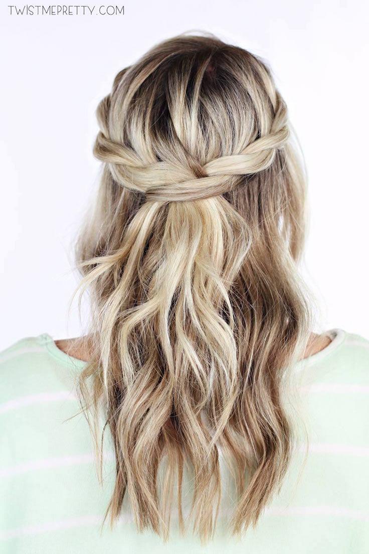 Easy Heatless Hair Styles for Long Hair | no-heat hairstyle, easy braided hairstyles, faux braids, twisted crown braid, faux braid tutorial, how to braid your hair, fishtail braid, faux braided ponytail, braided bun updo, twisted half-up, easy braid hair tutorial