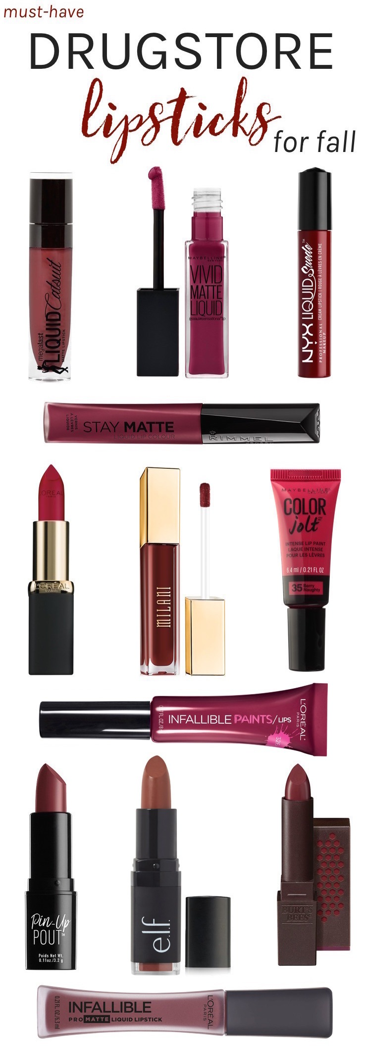 Fall calls for a switch to moody, darker colors, and what better way to create bold looks than with perfectly painted lips! Here are the best drugstore lipsticks for fall and winter, that you'll want to stock up on!
