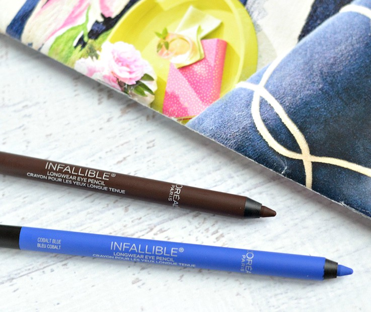 L'Oreal Infallible Pro-Last Waterproof Pencil Eyeliners in Cobalt Blue and Brown
