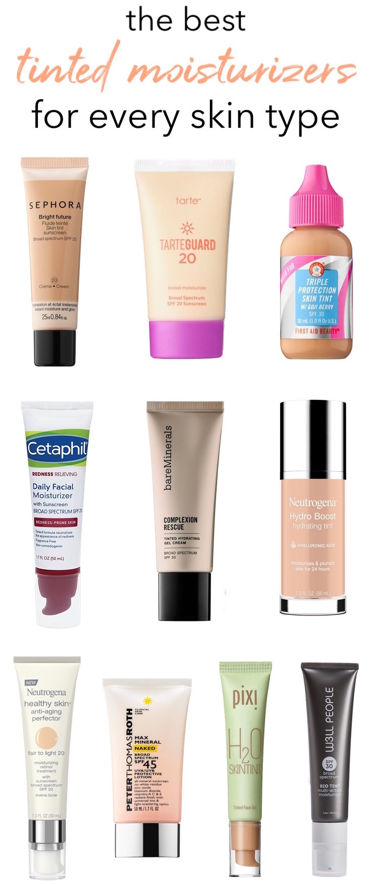 Hate the heavy feel of foundation in summer? These are the best tinted moisturizers with SPF to lighten up your makeup routine! Whether you have oily skin, acne-prone or dry and sensitive, there's one for every skin type and budget!