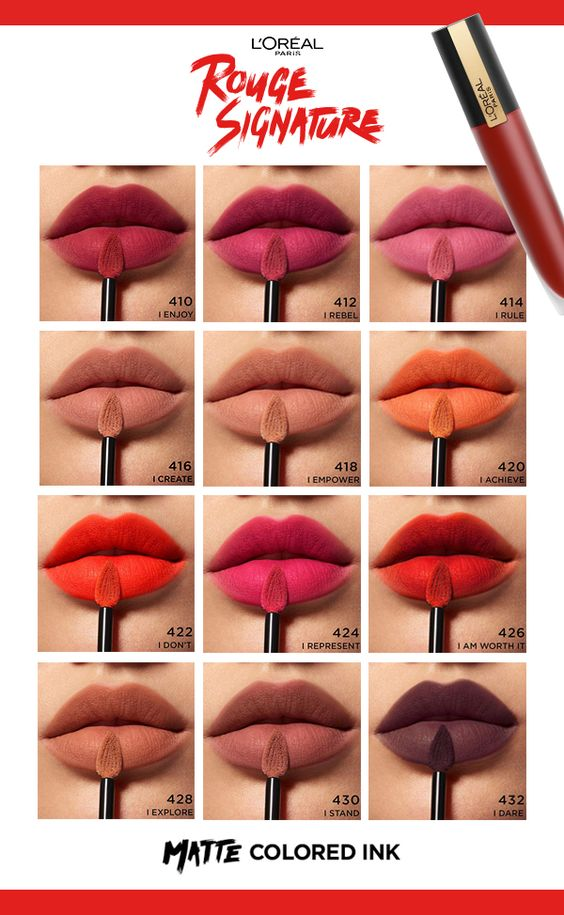 LOreal Rouge Signature Matte Lip Swatches