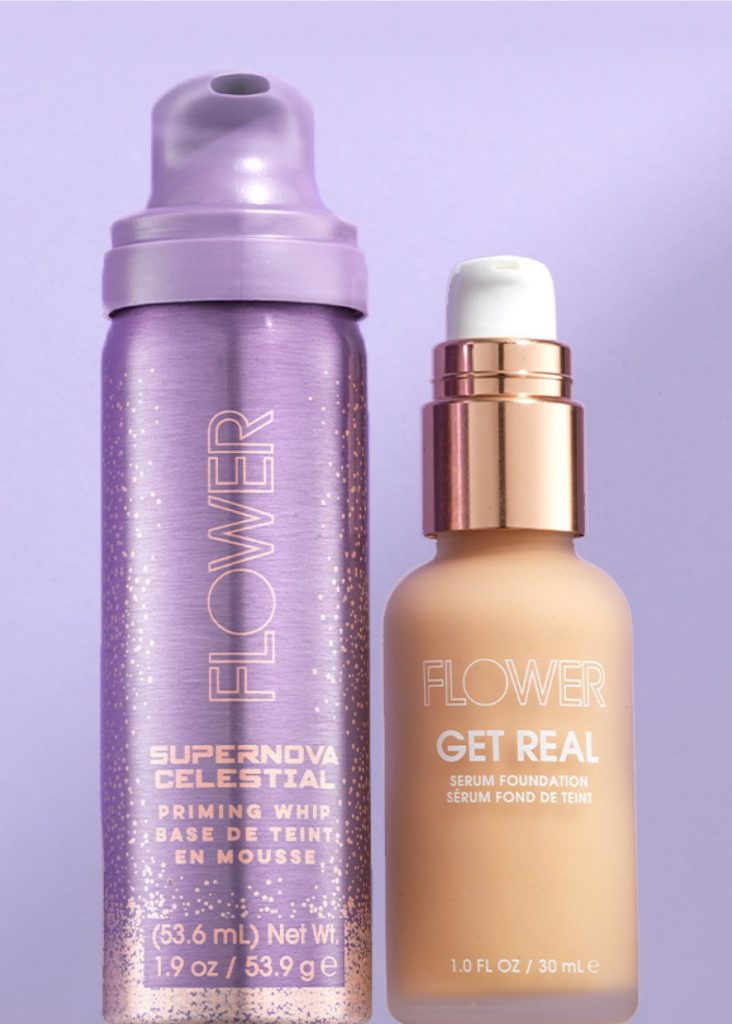 Flower Beauty Supernova Celestial Priming Whip and Get real serum foundation