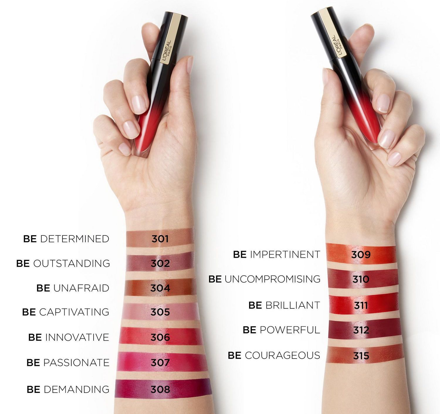 L'Oreal Brilliant Signature Shiny Lip Stains swatches